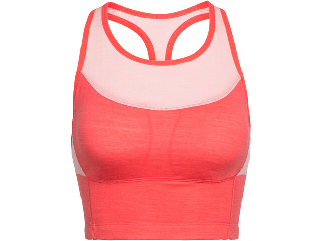 Icebreaker Meld Zone Long Sport Bra Dam poppy red/sorbet